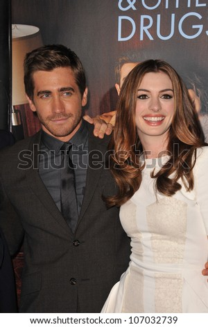 "LOS ANGELES, CA - NOVEMBER 4, 2010: Jake Gyllenhaal & Anne Hathaway at the world premiere of their new movie ""Love & Other Drugs"" at Grauman's Chinese Theatre, Hollywood. - stock photo"