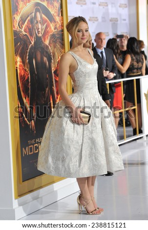 "LOS ANGELES, CA - NOVEMBER 17, 2014: Jennifer Lawrence at the Los Angeles premiere of her movie ""The Hunger Games: Mockingjay Part One"" at the Nokia Theatre LA Live.  - stock photo"