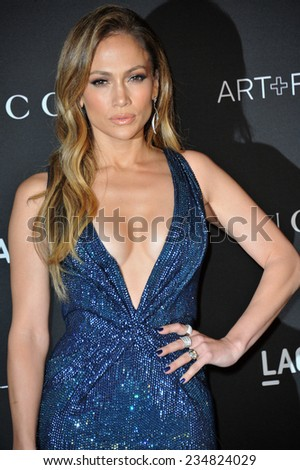 LOS ANGELES, CA - NOVEMBER 1, 2014: Jennifer Lopez at the 2014 LACMA Art+Film Gala at the Los Angeles County Museum of Art.  - stock photo
