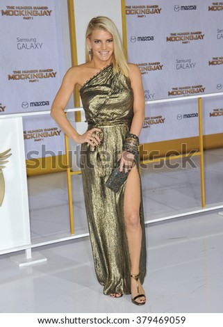 "LOS ANGELES, CA - NOVEMBER 17, 2014: Jessica Simpson at the Los Angeles premiere of ""The Hunger Games: Mockingjay Part One"" at the Nokia Theatre LA Live. - stock photo"