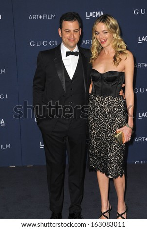 LOS ANGELES, CA - NOVEMBER 2, 2013: Jimmy Kimmel & wife Molly McNearney at the 2013 LACMA Art+Film Gala at the Los Angeles County Museum of Art.  - stock photo