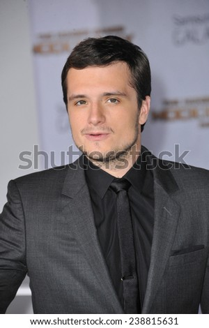 """LOS ANGELES, CA - NOVEMBER 17, 2014: Josh Hutcherson at the Los Angeles premiere of his movie """"The Hunger Games: Mockingjay Part One"""" at the Nokia Theatre LA Live.  - stock photo"""