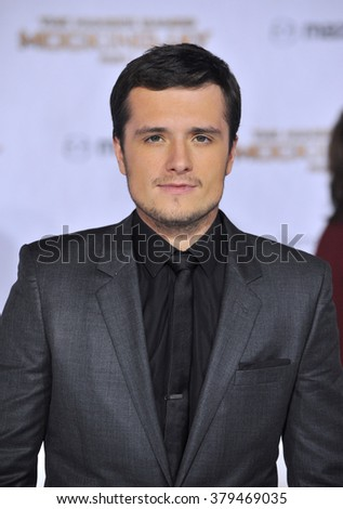 "LOS ANGELES, CA - NOVEMBER 17, 2014: Josh Hutcherson at the Los Angeles premiere of his movie ""The Hunger Games: Mockingjay Part One"" at the Nokia Theatre LA Live. - stock photo"