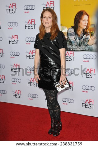 "LOS ANGELES, CA - NOVEMBER 12, 2014: Julianne Moore at the premiere of her movie ""Still Alice"" as part of the AFI FEST 2014 at the Dolby Theatre, Hollywood.   - stock photo"
