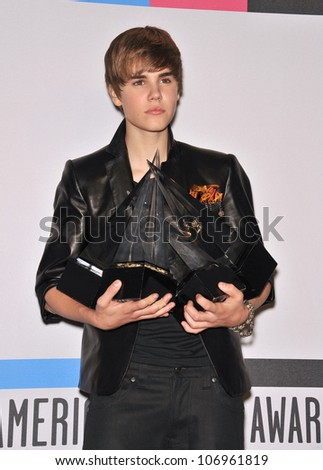 LOS ANGELES, CA - NOVEMBER 21, 2010: Justin Bieber at the 2010 American Music Awards at the Nokia Theatre L.A. Live. - stock photo