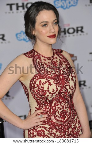 "LOS ANGELES, CA - NOVEMBER 4, 2013: Kat Dennings at the US premiere of her movie ""Thor: The Dark World"" at the El Capitan Theatre, Hollywood."