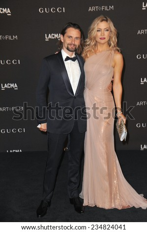LOS ANGELES, CA - NOVEMBER 1, 2014: Kate Hudson & fiance Matthew Bellamy at the 2014 LACMA Art+Film Gala at the Los Angeles County Museum of Art.  - stock photo
