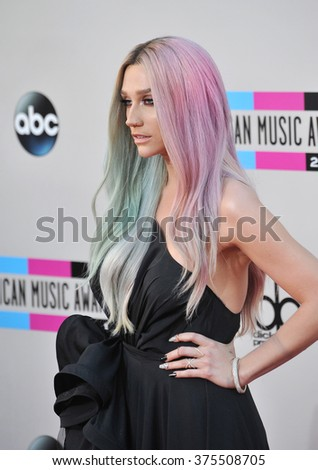 LOS ANGELES, CA - NOVEMBER 24, 2013: Ke$ha at the 2013 American Music Awards at the Nokia Theatre, LA Live.  - stock photo