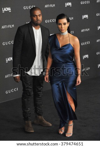 LOS ANGELES, CA - NOVEMBER 1, 2014: Kim Kardashian & Kanye West at the 2014 LACMA Art+Film Gala at the Los Angeles County Museum of Art.