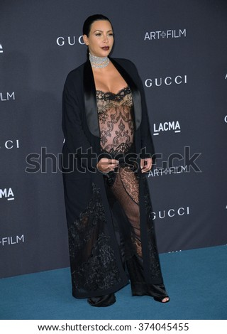 LOS ANGELES, CA - NOVEMBER 7, 2015: Kim Kardashian West at the 2015 LACMA Art+Film Gala at the Los Angeles County Museum of Art.