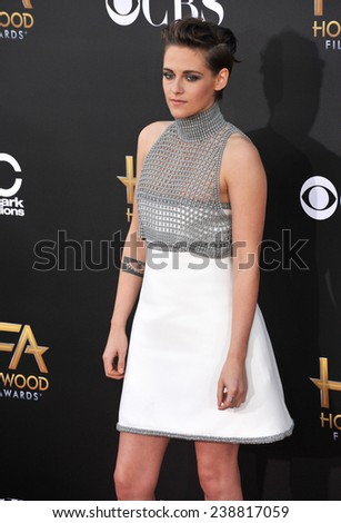 LOS ANGELES, CA - NOVEMBER 14, 2014: Kristen Stewart at the 2014 Hollywood Film Awards at the Hollywood Palladium.  - stock photo