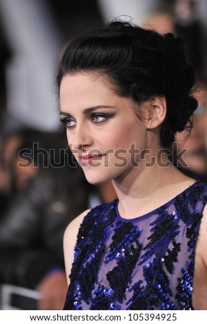 "LOS ANGELES, CA - NOVEMBER 14, 2011: Kristen Stewart at the world premiere of her movie ""The Twilight Saga: Breaking Dawn - Part 1"" at the Nokia Theatre, L.A. Live. November 14, 2011  Los Angeles, CA - stock photo"