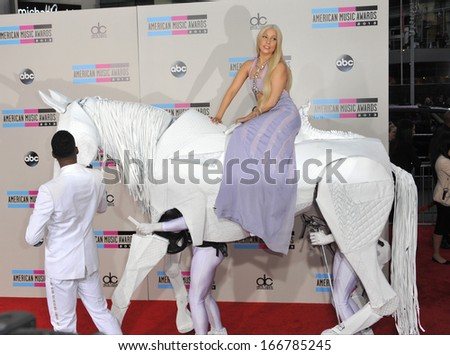 LOS ANGELES, CA - NOVEMBER 24, 2013: Lady Gaga at the 2013 American Music Awards at the Nokia Theatre, LA Live.  - stock photo