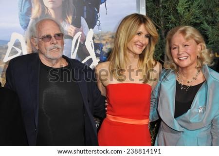 "LOS ANGELES, CA - NOVEMBER 19, 2014: Laura Dern & parents Diane Ladd & Bruce Dern at the Los Angeles premiere of Dern's movie ""Wild"" at the Samuel Goldwyn Theatre, Beverly Hills.  - stock photo"