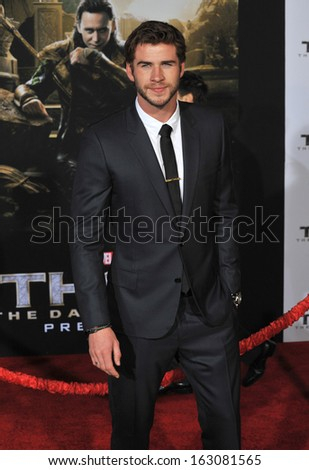 """LOS ANGELES, CA - NOVEMBER 4, 2013: Liam Hemsworth at the US premiere of """"Thor: The Dark World"""" at the El Capitan Theatre, Hollywood.  - stock photo"""