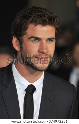 "LOS ANGELES, CA - NOVEMBER 4, 2013: Liam Hemsworth at the US premiere of ""Thor: The Dark World"" at the El Capitan Theatre, Hollywood. Picture: Paul Smith / Featureflash - stock photo"
