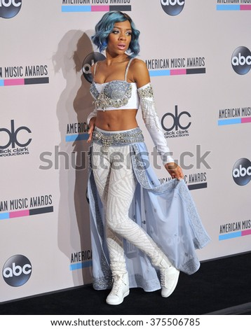 LOS ANGELES, CA - NOVEMBER 24, 2013: Lil Mama in the pressroom at the 2013 American Music Awards at the Nokia Theatre, LA Live.