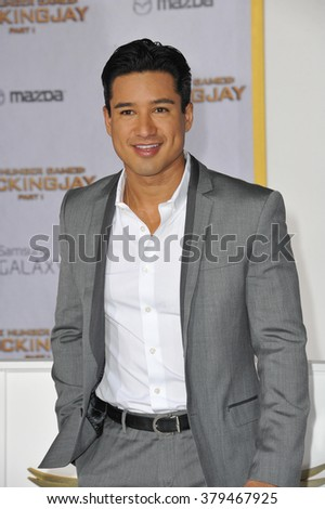 "LOS ANGELES, CA - NOVEMBER 17, 2014: Mario Lopez at the Los Angeles premiere of ""The Hunger Games: Mockingjay Part One"" at the Nokia Theatre LA Live. - stock photo"