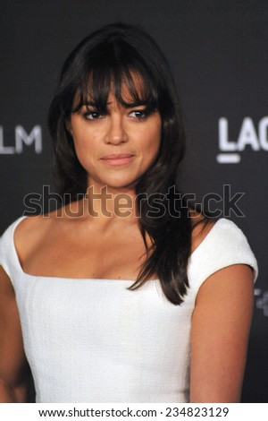 LOS ANGELES, CA - NOVEMBER 1, 2014: Michelle Rodriguez at the 2014 LACMA Art+Film Gala at the Los Angeles County Museum of Art.  - stock photo