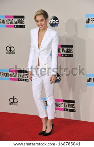 LOS ANGELES, CA - NOVEMBER 24, 2013: Miley Cyrus at the 2013 American Music Awards at the Nokia Theatre, LA Live.  - stock photo