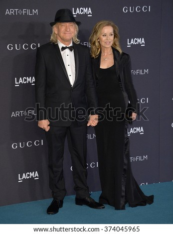 LOS ANGELES, CA - NOVEMBER 7, 2015: Musician Joe Walsh & wife Marjorie Bach at the 2015 LACMA Art+Film Gala at the Los Angeles County Museum of Art.