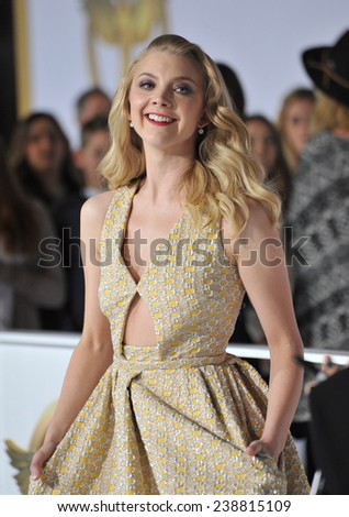 """LOS ANGELES, CA - NOVEMBER 17, 2014: Natalie Dormer at the Los Angeles premiere of her movie """"The Hunger Games: Mockingjay Part One"""" at the Nokia Theatre LA Live.  - stock photo"""