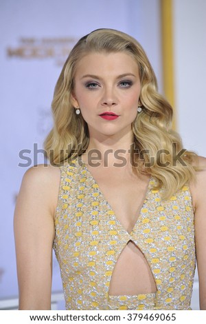 "LOS ANGELES, CA - NOVEMBER 17, 2014: Natalie Dormer at the Los Angeles premiere of her movie ""The Hunger Games: Mockingjay Part One"" at the Nokia Theatre LA Live. - stock photo"