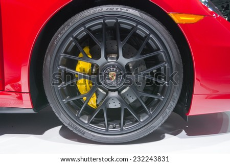 Los Angeles, CA - November 19, 2014: Porsche 911 Carrera 4 GTS 2015 on display on display at the LA  Auto Show