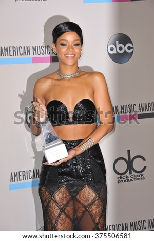 LOS ANGELES, CA - NOVEMBER 24, 2013: Rihanna in the pressroom at the 2013 American Music Awards at the Nokia Theatre, LA Live.  - stock photo