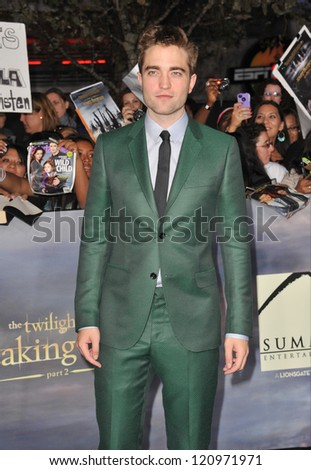 "LOS ANGELES, CA - NOVEMBER 12, 2012: Robert Pattinson at the world premiere of his movie ""The Twilight Saga: Breaking Dawn - Part 2"" at the Nokia Theatre LA Live. - stock photo"