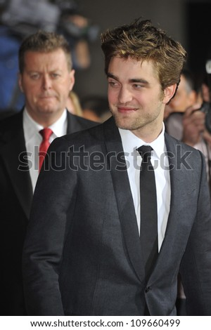 "LOS ANGELES, CA - NOVEMBER 16, 2009: Robert Pattinson at the world premiere of his new movie ""The Twilight Saga: New Moon"" at Mann Village & Bruin Theatres, Westwood. - stock photo"