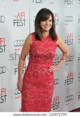 "LOS ANGELES, CA - NOVEMBER 8, 2012: Sally Field at the AFI Fest premiere of her movie ""Lincoln"" at Grauman's Chinese Theatre, Hollywood. - stock photo"