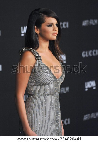 LOS ANGELES, CA - NOVEMBER 1, 2014: Selena Gomez at the 2014 LACMA Art+Film Gala at the Los Angeles County Museum of Art.  - stock photo