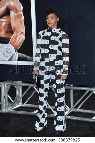 """LOS ANGELES, CA - NOVEMBER 19, 2015: Singer Janelle Mon�¡e at the Los Angeles World premiere of """"Creed"""" at the Regency Village Theatre, Westwood. - stock photo"""