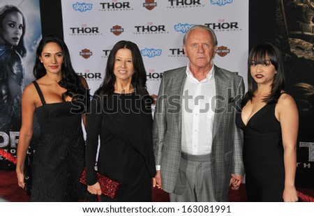 "LOS ANGELES, CA - NOVEMBER 4, 2013: Sir Anthony Hopkins & wife Stella Arroyave at the US premiere of his movie ""Thor: The Dark World"" at the El Capitan Theatre, Hollywood."