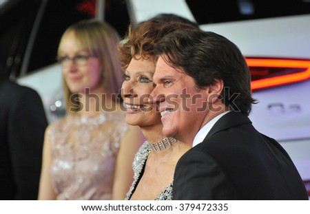 LOS ANGELES, CA - NOVEMBER 12, 2014: Sophia Loren & Rob Marshall at the American Film Institute's special tribute gala honoring Sophia Loren at the Dolby Theatre. - stock photo
