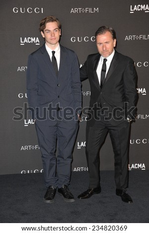 LOS ANGELES, CA - NOVEMBER 1, 2014: Tim Roth & son at the 2014 LACMA Art+Film Gala at the Los Angeles County Museum of Art.
