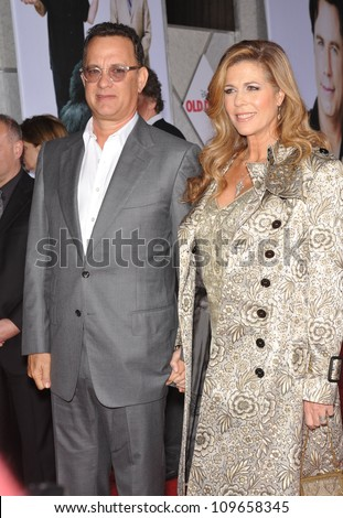 "LOS ANGELES, CA - NOVEMBER 9, 2009: Tom Hanks & wife Rita Wilson at the world premiere of her new movie Walt Disney's ""Old Dogs"" at the El Capitan Theatre, Hollywood. - stock photo"