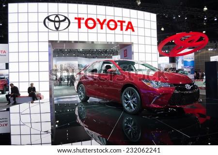 Los Angeles, CA - November 19, 2014: Toyota Camry 2015  on display at the LA  Auto Show - stock photo