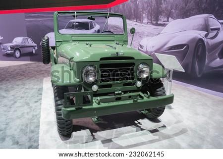 Los Angeles, CA - November 19, 2014: Toyota Land Cruiser Model BJ on display  on display at the LA  Auto Show - stock photo