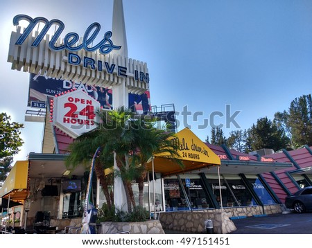 "LOS ANGELES, CA OCT 7TH,2016:Afternoon sun shines brightly over Mel's Drive-In on the Sunset Strip, a restaurant chain made famous through the movie ""American Graffiti"" and other Hollywood productions"