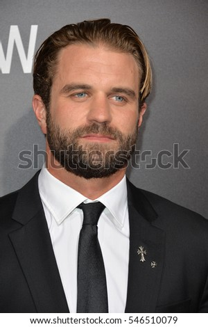 "LOS ANGELES, CA. October 24, 2016: Actor Milo Gibson, son of Mel Gibson, at the Los Angeles premiere of ""Hacksaw Ridge"" at The Academy's Samuel Goldwyn Theatre, Beverly Hills."