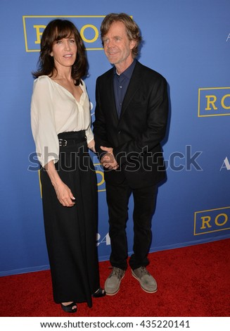 "LOS ANGELES, CA - OCTOBER 13, 2015: Actor William H. Macy & actress wife Felicity Huffman at the Los Angeles premiere of his movie ""Room"" at the Pacific Design Centre, West Hollywood.