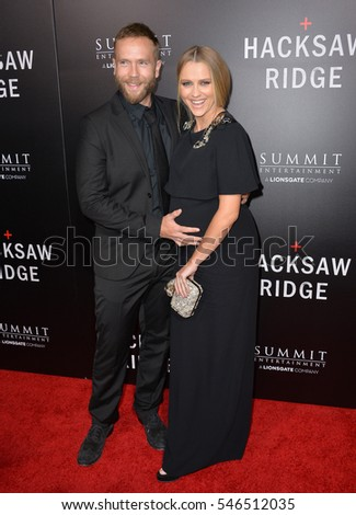 "LOS ANGELES, CA. October 24, 2016: Actress Teresa Palmer & husband actor Mark Webber at the Los Angeles premiere of ""Hacksaw Ridge"" at The Academy's Samuel Goldwyn Theatre, Beverly Hills."