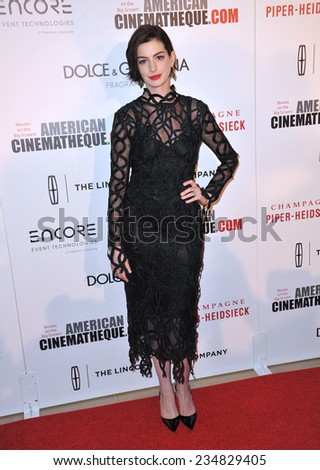 LOS ANGELES, CA - OCTOBER 21, 2014: Anne Hathaway at the 28th Annual American Cinematheque Award Gala honoring Matthew McConaughey at the Beverly Hilton Hotel.  - stock photo