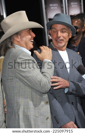 "LOS ANGELES, CA - OCTOBER 1, 2014: Billy Bob Thornton & Dwight Yoakam (left) at the Los Angeles premiere of Thornton's movie ""The Judge"" at the Samuel Goldwyn Theatre, Beverly Hills.  - stock photo"