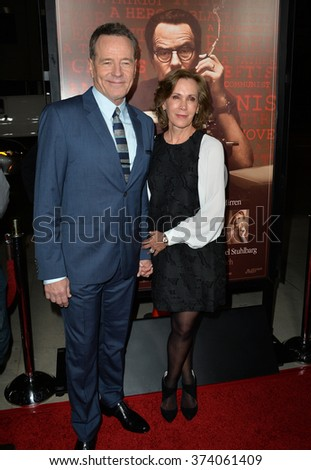 "LOS ANGELES, CA - OCTOBER 27, 2015: Bryan Cranston & wife Robin Dearden at the US premiere of his movie ""Trumbo"" at the Academy of Motion Picture Arts & Sciences, Beverly Hills.