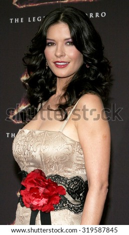 LOS ANGELES, CA - OCTOBER 16, 2005: Catherine Zeta-Jones at the Los Angeles premiere of 'The Legend of Zorro' held at the Orpheum Theater in Los Angeles, USA on October 16, 2005. - stock photo