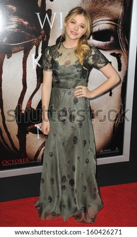 "LOS ANGELES, CA - OCTOBER 7, 2013: Chloe Grace Moretz at the world premiere of her movie ""Carrie"" at the Arclight Theatre, Hollywood."