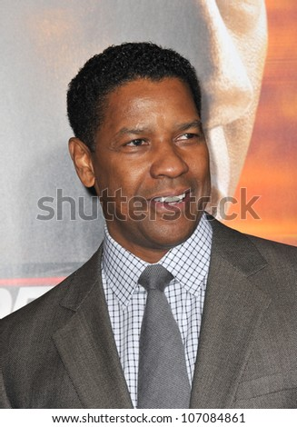 "LOS ANGELES, CA - OCTOBER 26, 2010: Denzel Washington at the world premiere of his new movie ""Unstoppable"" at the Regency Village Theatre, Westwood. - stock photo"